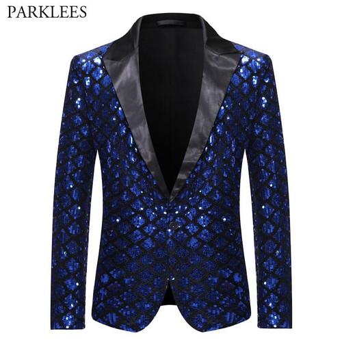 Royal Blue Sequin Glitter Embellished Jacket Men One Button Shiny Plaid Tuxedo Blazers