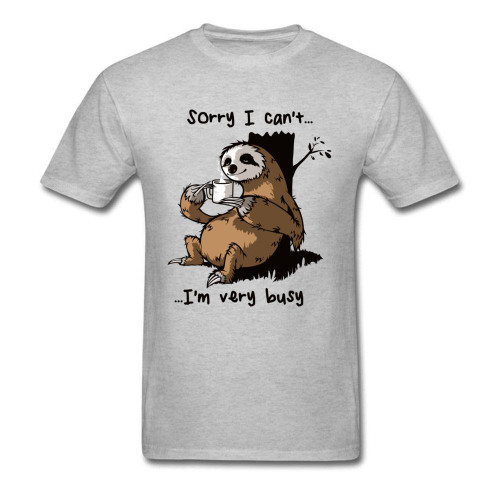 Very Busy Sloth T Shirt Men's Top T-shirts Funny Cartoon Tshirt Summer New Grey Tees Short Sleeve Cotton Clothes Plus Size