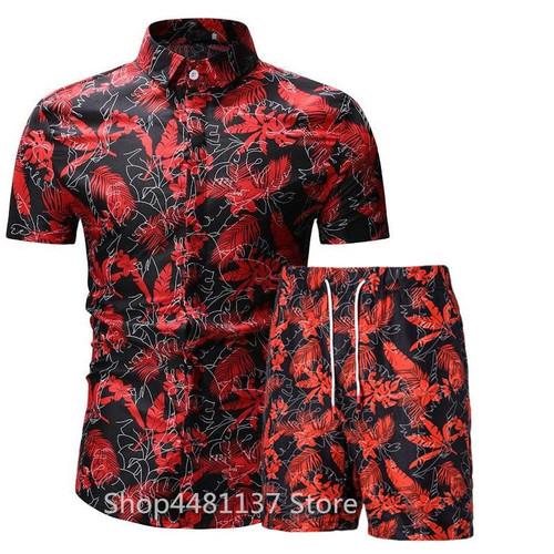 Fashion men clothes set summer Flower tshirt men slim fit casual t shirt men cotton short sleeve T-shirt sportwaer tracksuit 3XL