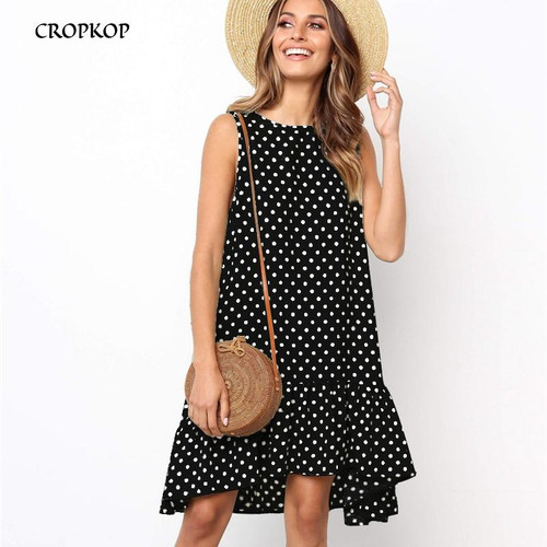 Women Summer Dress Ruffles Polka Dot Sleeveless Mini Dresses Plus Size  Loose Black Beach