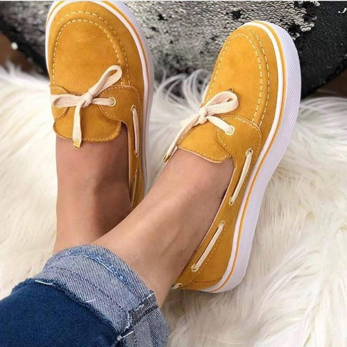 2020 Casual Flat Plus Size Women Sneakers Ladies Suede Bow  Tie Slip On Shallow