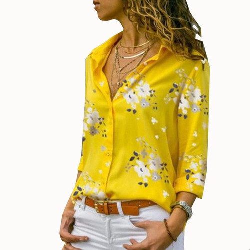 Women Tops Blouses 2020 Autumn Elegant Long Sleeve Print V-Neck Chiffon Blouse Female Work Wear Shirts Plus Size 5XL Lapel Blusa
