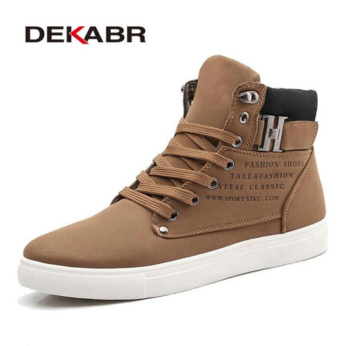 DEKABR 2018 Hot Men Shoes Fashion Warm Fur Winter Men Boots Autumn Leather Footwear For Man New High Top Canvas Casual Shoes Men - Joelinks store