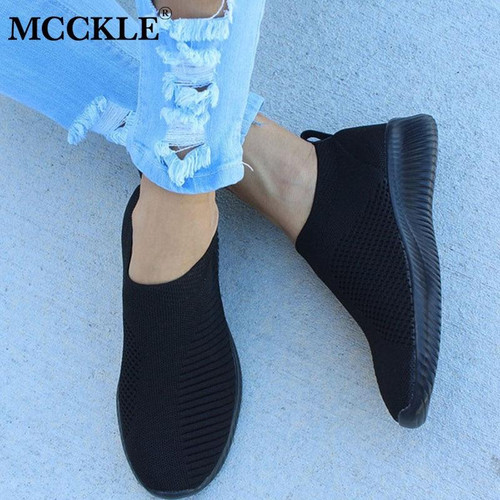 MCCKLE Spring Shoes Women Sneaker Air Mesh Soft Female Sock Knitted Vulcanized Shoes Casual Slip On Ladies Flat Women's Footwear