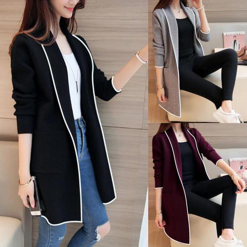 Black Women Long Coats Long Sleeve Casual OL Spring Cardigan Pocket