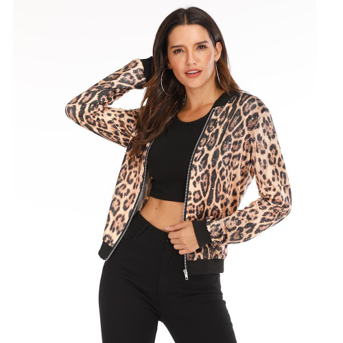 Rose Leopard Spring Women's Jackets Plus Size Short Female Coat