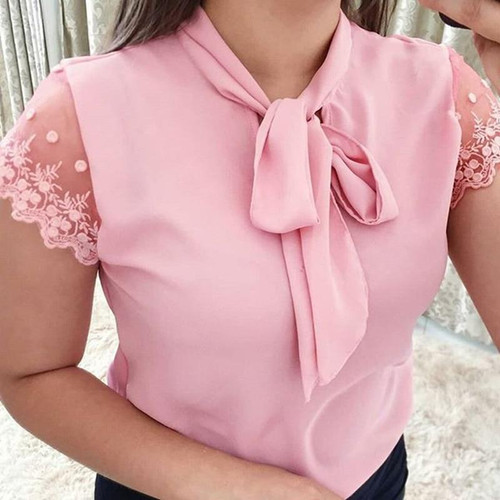 Umeko Lace Up Bow Tie Shirt 2020 Summer Short Sleeve Chiffon Casual Blouse