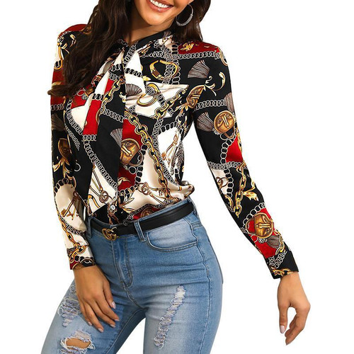 Explosion models 2020 fashion chain printing ladies shirt neckline with long-sleeved casual shirt blouse