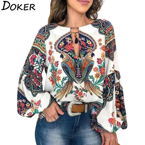 2020  Bohemian Floral Print Blouse Women O-neck Puff Sleeve Tops White
