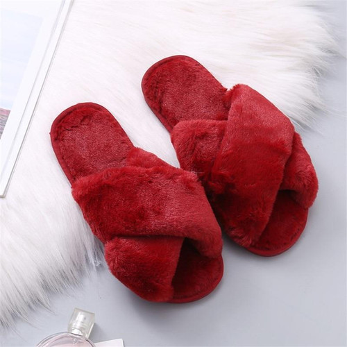 COOTELILI Women Home Slippers Winter Warm Shoes Woman Slip on Flats Slides Female