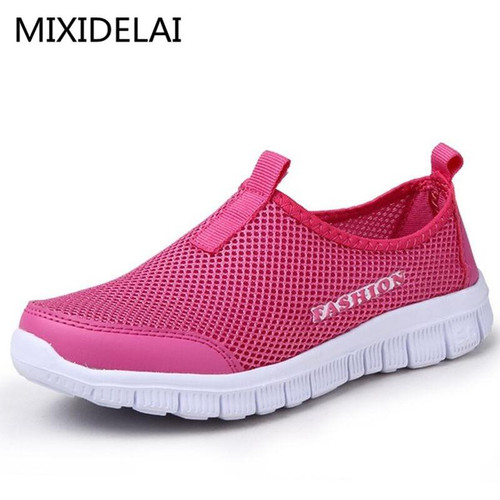 New Women Casual Shoes New Arrival Breathable Women's Fashion Air Mesh Summer Shoes Female Slip-on Plus Size 34-46 Shoes - Joelinks store