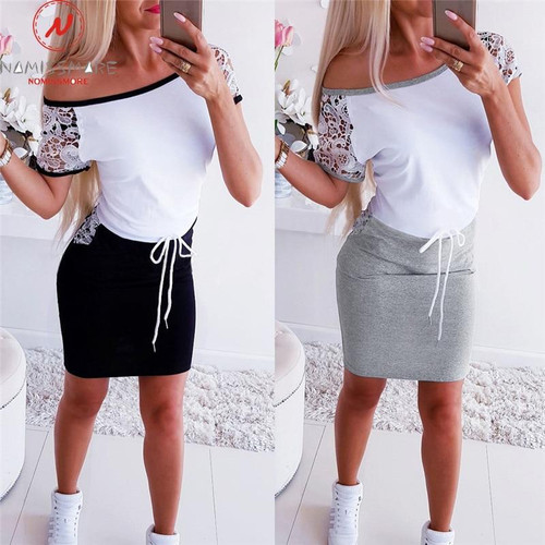 Fashion Women Mini Dress Color Matching Design Pockets Decor O-Neck Short Sleeve Pencil Dress Elegant Lady Slim Bandage Dress