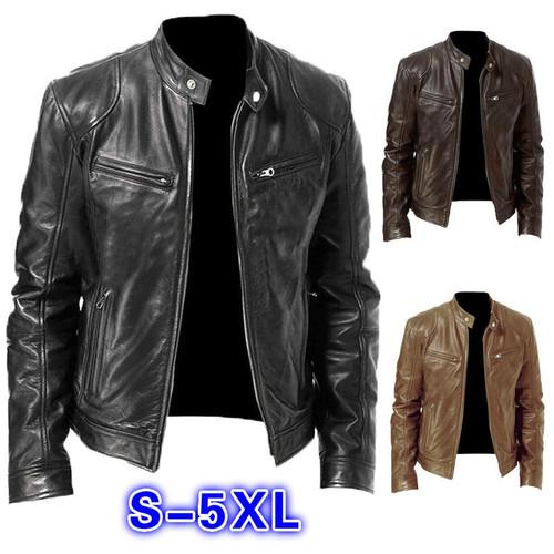 Men PU Leather Jacket Winter Vintage Black Zipper Male Motorcycle Bomber