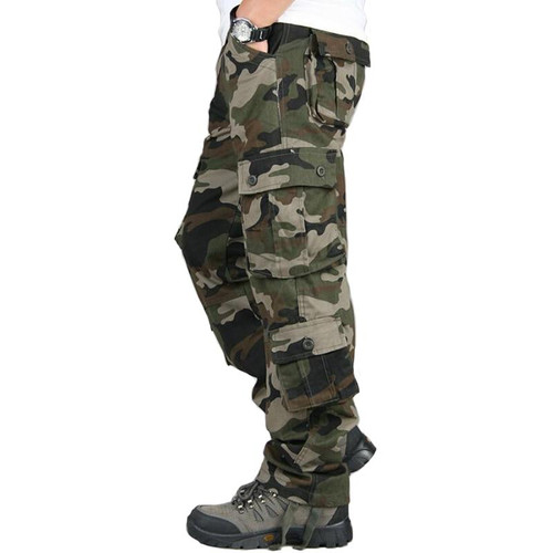 Camouflage Cargo Pants Men Outdoor Multi-pocket Overalls Military Tactical Long Trousers Men's Casual Cotton Straight Pants 44