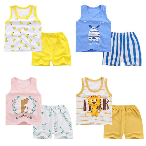 Kids Clothes Toddler Boys Cartoon Outfits Baby Girls Summer Suits 1 2 3 4 5 Years