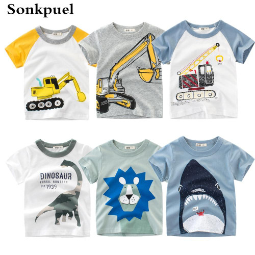 1-8Y Kids Boys T-shirt New Excavator Design Baby Cotton Tops Summer Clothing