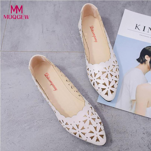 2018 New Arrival Women Flats Shoes Shallow Flat Heel Hollow Out Flower Shape Nude Shoes Pointed-toe Shoes zapatos mujer - Joelinks store