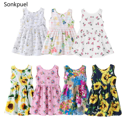 1-7 Years Baby Girls Sleeveless Flower Print Dresses Clothes Kids Summer