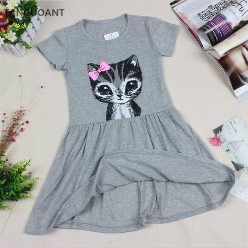TANGUOANT Hot Sale New summer girl dress cat print grey baby girl