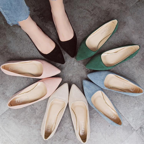 2018 Fashion Women Shoes Woman Flats high quality suede slip-on shoes pointed toe Rubber Women Flat Shoes Ballet plus size - Joelinks store