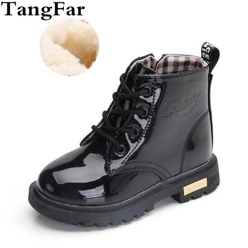 Children Shoes Winter Warm Fur PU Leather Waterproof Children  Boots Brand