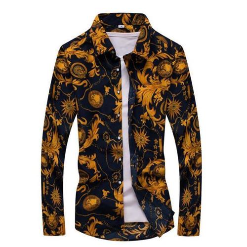 2020 Male Floral Print Dress Shirts Mens Shirt Slim Fit Ethnic Flowers Long Sleeve