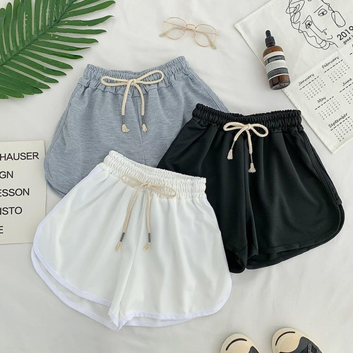 Lace Up Casual Summer Shorts Women Simple Elastic Slim Straight Shorts