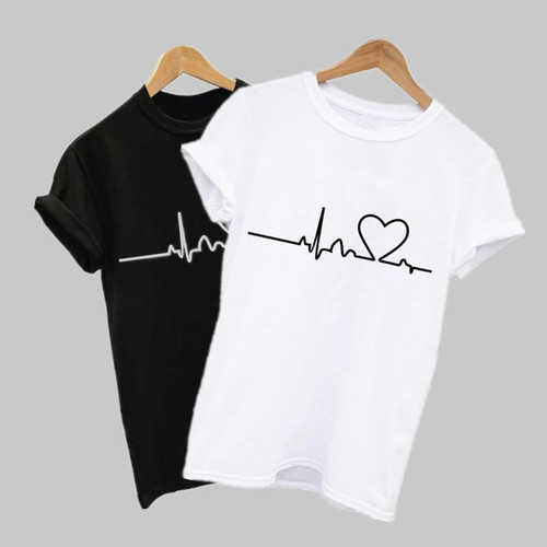 2020 New Women T-shirts Casual Harajuku Love Printed Tops Tee Summer Female
