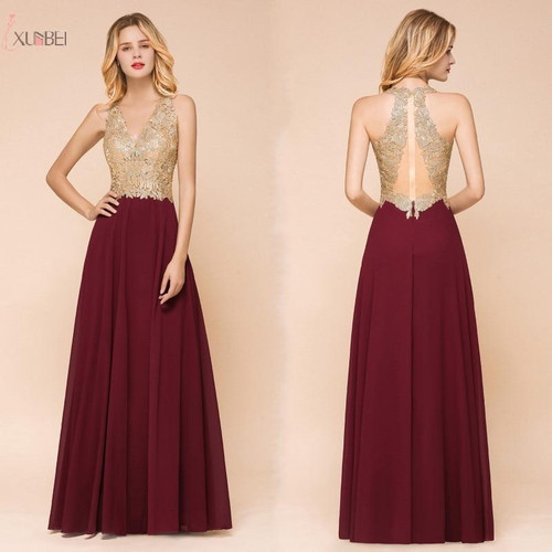 Burgundy Long Prom DressesV Neck Sleeveless Gown Gold Lace