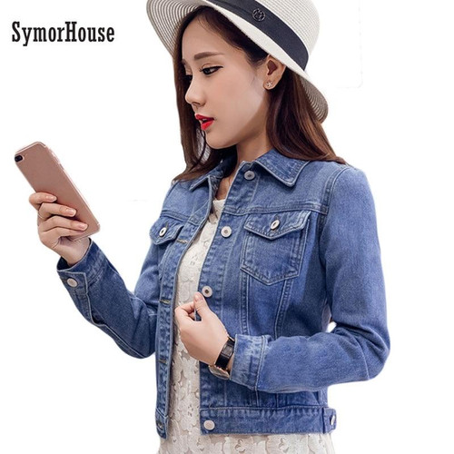 2020 Fashion Jeans Jacket Women Spring Long Sleeve Stretch Short Denim Jacket White Pink Coats