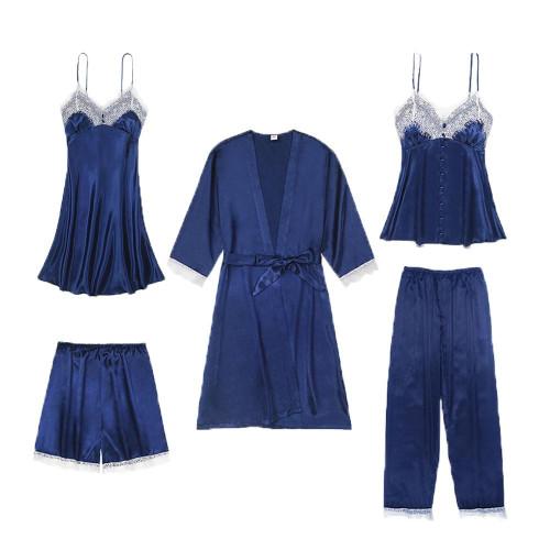 Pajama set Sexy Women Nightwear shorts Satin Silk pyjama Ladies