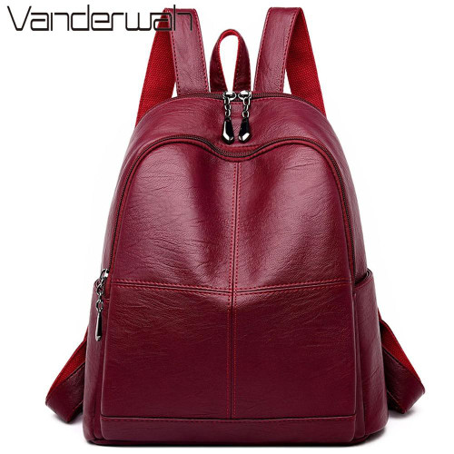 2020 Female backpack Girls mochila feminina casual Women Leather Backpack