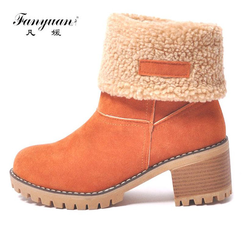 Fanyuan Women Snow Boots  Thick Bottom Platform Waterproof Ankle Boots For Women Thick Warm fur Winter Warm Boots size 34-43 - Joelinks store