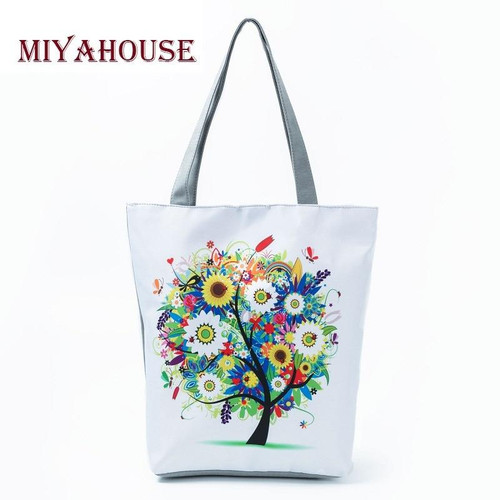 Miyahouse Trendy Pink Rose Design Canvas Beach Bags For Female Floral