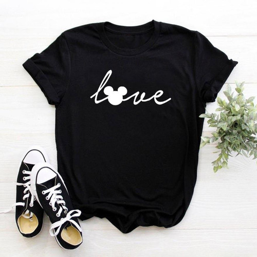 Love mouse Cartoon Cute Women tshirt Casual Funny t shirt For Lady Girl Top