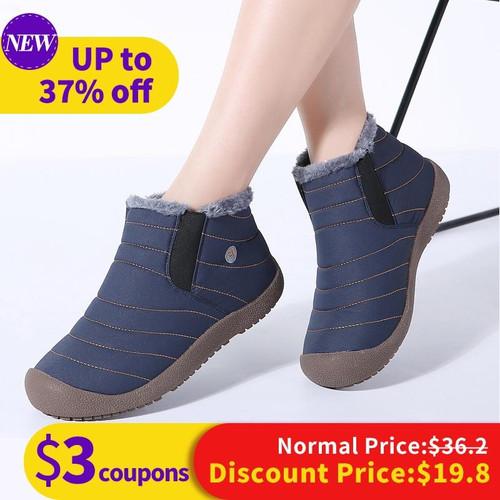 STQ 2018 Winter Women Snow Boots Mid-Calf ankle boots women slip on waterproof rubber boots warm fur plush rain boots 6811 - Joelinks store