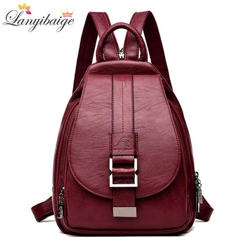 Winter 2020 Women Leather Shoulder Bag Female Backpack Ladies Travel