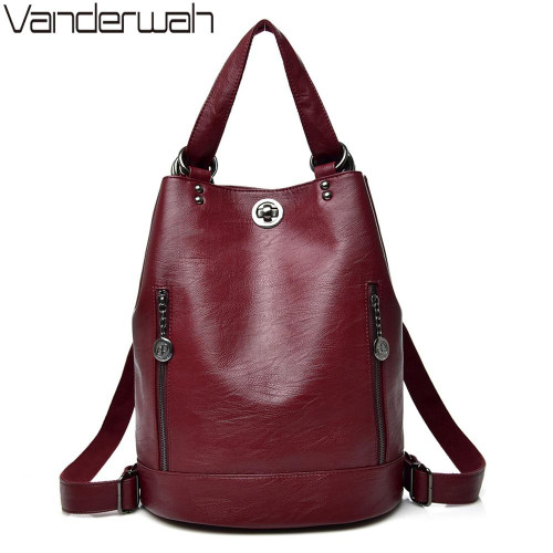 2020 Female backpack mochila feminina casual Multifunction Women Leather Backpack
