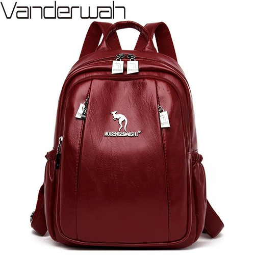 Women Soft Leather Backpacks For Girls Sac a Dos Casual Daypack