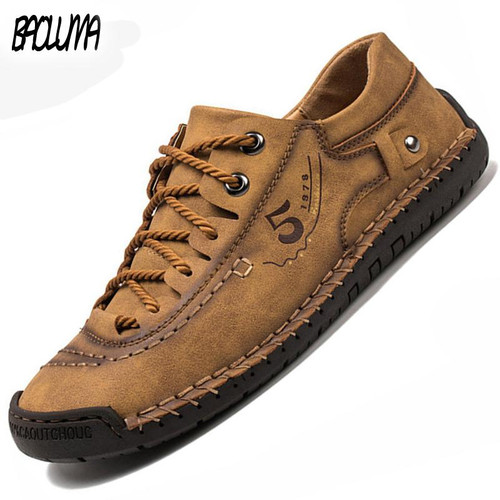 Men's Casual Shoes Men Leather Loafers Flat Handmade Breathable Moccasins