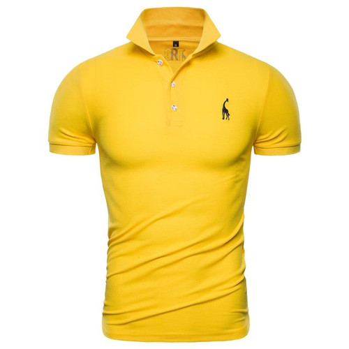New Polo Shirt Men Solid Casual Cotton Polo Giraffe Men Slim Fit