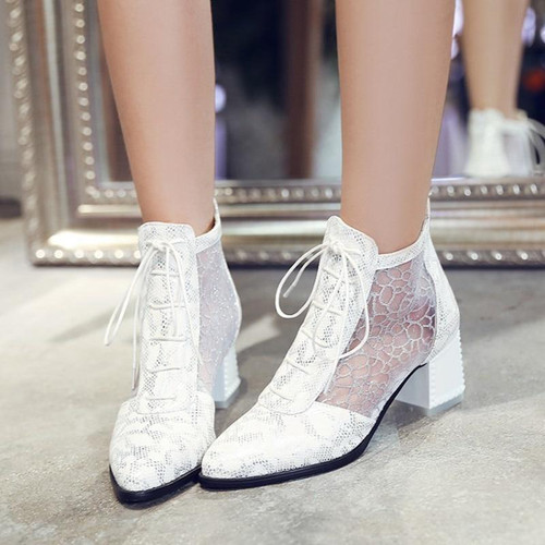 White Summer boots Pointed toe Thick heels  Casual footwear
