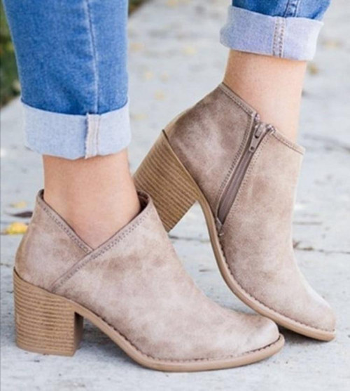 2020 Chic Summer Women Shoes Retro High Heel Ankle Boots
