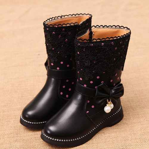 Children  Boots Cowhide Girls Korean Design Boots