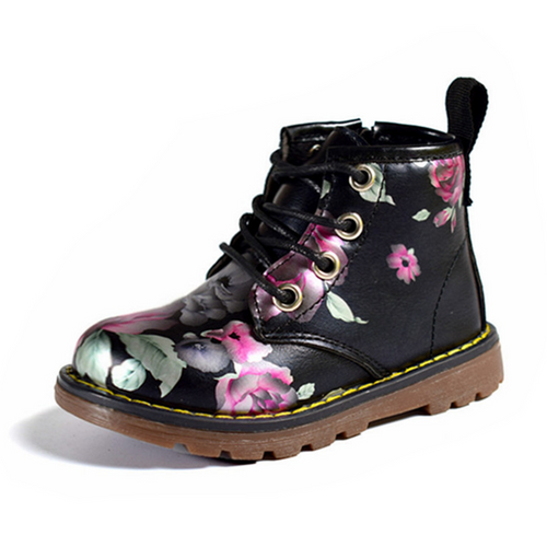 Girls Fashion Flower PU Leather Martin Boots Irregular Floral Casual shoes
