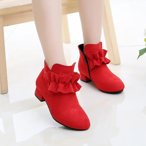 Girls Boots Flock Fabric Warm Cotton Autumn Winter Kids Ankle Boots