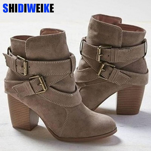 size 35-43 Autumn Winter Women Boots Casual Ladies shoes Martin boots Suede Leather ankle boots High heeled zipper Snow boot - Joelinks store