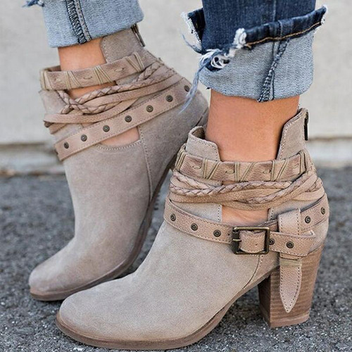 2018 Autumn Winter Women Boots Fashion Casual Ladies shoes Martin boots Suede Leather Buckle boots High heeled zipper Snow boot - Joelinks store