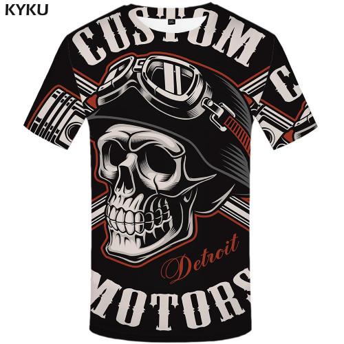 KYKU Skull T Shirt Men Black Tshirt Funny Punk Rock Clothes Military