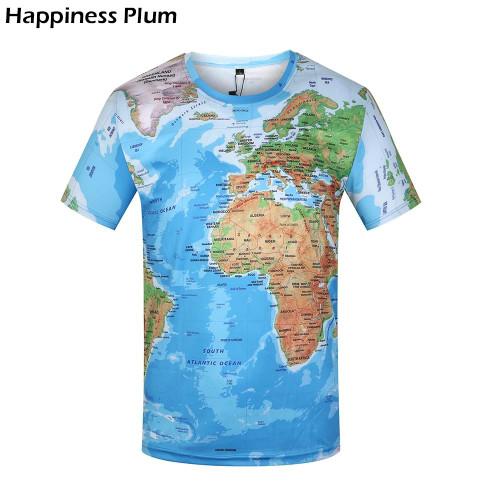 Brand 3D T Shirt Men World Map T-shirt Funny T Shirts